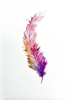 Feather painting in watercolour by Siparia on Etsy Federmalerei in Aquarell von Siparia auf Etsy This image has get. Watercolor Tattoo Feather, Feather Painting, Feather Art, Feather Tattoos, Artist Painting, Watercolor Paintings, Feather Drawing, Quill Tattoo, Aquarell Tattoos