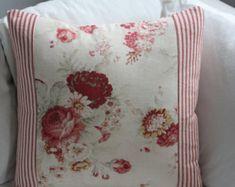 Taies d'oreiller coutil et Floral - Norfolk Waverly Rose et toile à matelas rayée