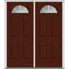 Milliken Millwork 66 in. x 81.75 in. Classic Clear Glass GBG 1/4 Lite 4 Panel Painted Majestic Steel Exterior Double Door, Redwood