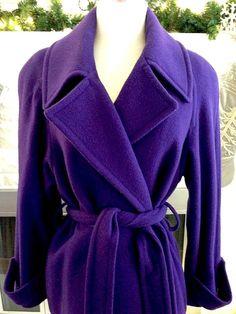 Vintage Royal Purple Wool Women's Trench Coat