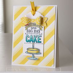 hand crafted birthday card : Big Day birthday card in Daffodil and Cabana ... luv the bright colors ... tag focal point ...