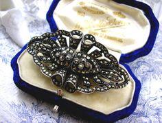 Art Deco Silver Marcasite Brooch Duette Dress by KittysJewelryBox, $150.00