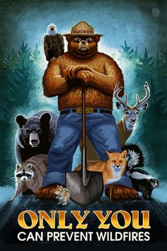 Colorado - Smokey Bear and Friends - Only You Can Prevent Wildfires (Art Prints, Wood & Metal Signs, Canvas, Tote Bag, Towel) Smokey The Bears, Free Canvas, Poster Prints, Art Prints, Stock Art, Antique Maps, Metal Signs, New Mexico, Nebraska