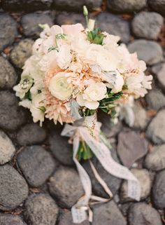 #ranunculus, #bouquet, #dahlia  Photography: Jessica Burke - jessicaburke.com  Read More: http://www.stylemepretty.com/2014/01/07/rustic-chic-napa-valley-wedding-at-long-meadow-ranch/