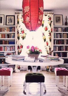 Oh what fun! Boho chic home library ~ Mom will love the table in the middle of her library