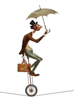 Character Art, Character Design, Color Me Mine, Surf Shirt, Circus Art, Unicycle, Umbrellas Parasols, Sketch Inspiration, Vintage Circus