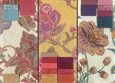 Showing BROCHIER fabrics: Kippur, Quattro, Pancrazio, Ucciardone, Coviello, Colombina, Zanni and Poggioreale. http://brochier.it/fabrics/design-inspiration/023-floreale-stampato/