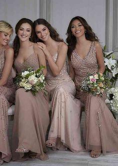 Champagne Bridesmaid Dresses, Bridesmaid Dress Colors, Bridesmaids In Different Dresses, Whimsical Bridesmaids Dresses, Champagne Color Wedding, Champaign Wedding Dress, Winter Wedding Bridesmaids, Winter Bridesmaids, Bridesmaid Pyjamas