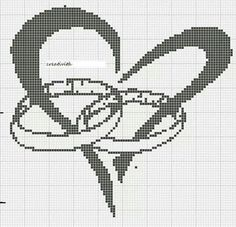 WEDDING BOND (no color chart available, just use photo/pattern chart as your stitch/color guide. or choose your own colors): Wedding Cross Stitch Patterns, Counted Cross Stitch Patterns, Cross Stitch Designs, Cross Stitch Embroidery, Crochet Cross, Crochet Chart, Crochet Wedding, Cross Stitch Heart, Tapestry Crochet