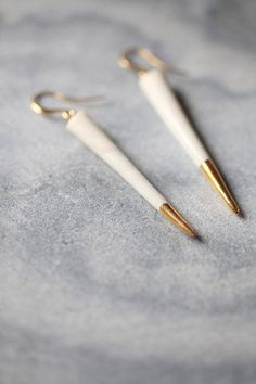 Ready to ship, Oursin, porcelain and gold earrings, glazed .Porcelain jewelry