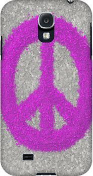 The Fuchsia Splat Painted Peace Symbol Samsung Galaxy S4/S3 Case