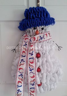 White Mesh Winter Wonderland Snowman W/Royal Blue by dottiedot05, $100.00
