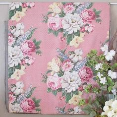 6 PC Lot of Beautiful Vintage Roses Barkcloth Fabric Totes Pillows Curtains   eBay