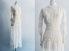 Victorian/Edwardian+Cotton+Crochet+Embroidered+by+ShopGossamer,+$289.00