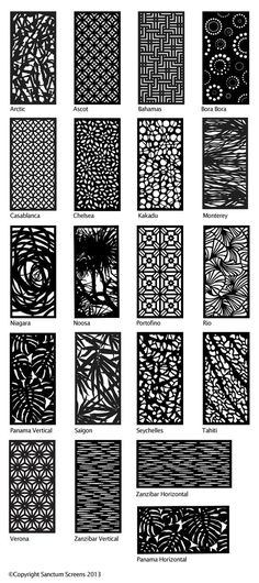 Decorative Screens - options i Laser Cut Screens, Laser Cut Panels, Laser Cut Metal, Metal Panels, Laser Cutting, Screen Design, Gate Design, Door Design, Tattoo Muster