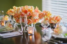 Parrot Tulip Centerpiece | A great DIY wedding centerpiece all year long.