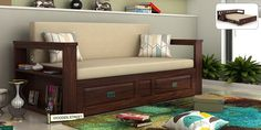 Buy Riota Sofa Cum Bed With Storage (King Size, Walnut Finish) Online in India - Wooden Street Bed Furniture, Beds For Small Spaces, Sofa Bed Sale, Cheap Bed Sheets, Sofa Design, Furniture, Bed Storage, Small Sofa Bed, Buy Sofa