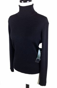 Ralph Lauren Sweater Wool Merino Black Turtleneck Ribbed Knit Warm Womens S | eBay