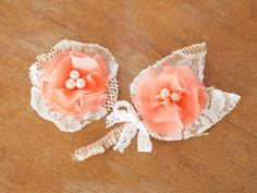 A set of burlap and coral flower boutonniere and pin by kissmeknot
