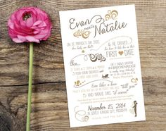 Unique timeline save the date card or wedding announcement. Custom-designed using your love story, along with icons and swirls from TheInkedLeaf on Etsy.
