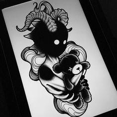 darkhead tattoo design blackwork monster creature creepy dotwork Nightmare teddybear kid  child