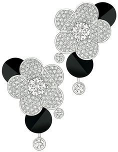 Tuxedo #Earrings from #CafeSociety - #Chanel - #FineJewelry collection in 18K white gold set with 2 #BrilliantCut - #Diamonds (2 cts), 194 brilliant cut diamonds (2.3 cts) and carved onyx - July 2014