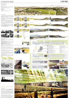 landscape architecture competition boards | Autores: Alejandro González Palacios, Luis Miguel Segui Urbita, Jorge ...