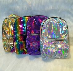 choose which color you'd like from the drop down menu. backpacks are smaller sized than the usual school backpack; perfect for festivals/raves or everyday use as a purse Fashion Bags, Fashion Backpack, Cute Mini Backpacks, Holographic Fashion, Mini Mochila, Disney Purse, Girls Bags, Cute Bags, Purple Gold