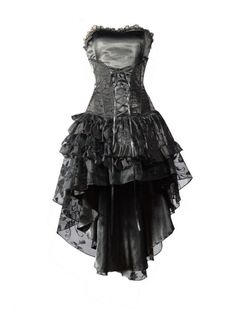 Black Corset High-Low Layer Skirt Gothic Party Dress - Devilnight.co.uk