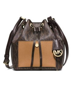 Look at this Michael Kors Brown & Peanut Greenwich Small Saffiano Leather Bucket Bag on #zulily today!