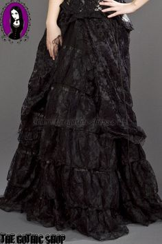 Beautiful Black Lace Long Gothic Victorian Skirt
