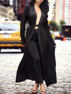 c8a4e5ef06 Fashion Women Black Lace Crochet Belted Long Coat With Pants Twinset  Fashion Night