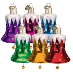 According to legend, bells rang throughout the world when Christ was born. Traditionally, bells have been used throughout Europe and America to ring in the Christmas Season. Bell ornaments symbolize the joy and merriment of the Christmas holidays. #legend #bells #christmas #joyandmerriment #glassornaments #traditional #oldworldchristmas  Snowcapped Bell (assorted colors) (Item #38014)