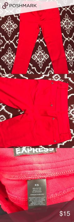 Red Pants Red Pants Colorful red pants. Skinny leg jeans/jeggings. Comfortable and stretchy.  65% Rayon 30% Nylon 5% Spandex Express Pants Leggings