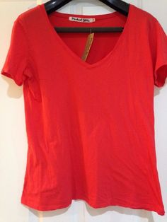 Michael Stars OS Womens Tomato /Red Relaxed Top/ T-Shirt V Neck Cotton MSRP $58  | eBay