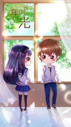 รูปภาพ art girl, beautiful, and sweet girl Cute Chibi Couple, Cute Couple Cartoon, Cute Love Cartoons, Cute Cartoon, Kawaii Chibi, Kawaii Cute, Kawaii Girl, Anime Chibi, Kawaii Anime