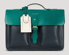 Man Bag Monday: Ted Baker Harlemm Mixed Leather Briefcase - Men's style Briefcase For Men, Leather Briefcase, Leather Satchel, Mk Handbags, Leather Accessories, Leather Men, Leather Jackets, Pink Leather, Fashion Bags