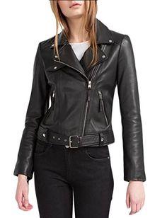ouxiuli Womens Long Sleeve Oblique Zipper Short Jacket Slim Fit Moto Jacket