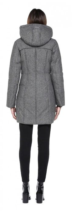 Sacha by SOIA & KYO is a black long down wool coat for women with rounded double-buttoned hood and welt zip pockets.