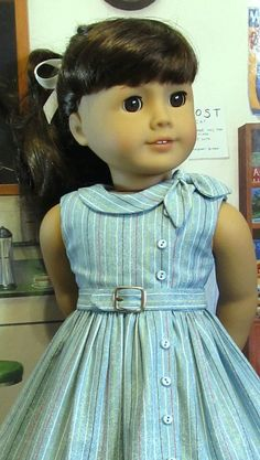 Side Tie Collar Dress~ Clothes Made to fit American Girl Doll, A KeepersDollyDuds Original American Girl Crafts, American Doll Clothes, Ag Doll Clothes, Doll Clothes Patterns, Dress Clothes, American Dolls, Dresses Kids Girl, Kids Outfits, Flower Girl Dresses