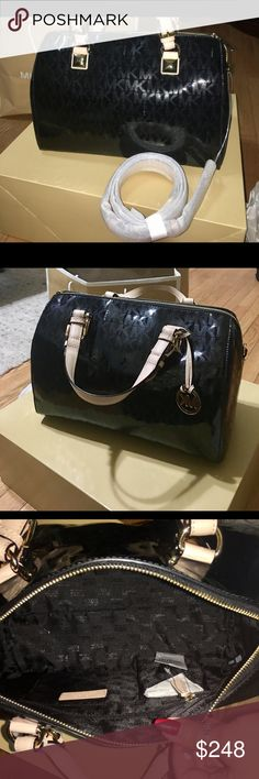 MK Grayson Michael kors large grayson monogram satchel michael kors gift bag and box included! Brand new with tags 100% authentic, metallic monogram black patent and buff leather trim.,golden hardware.,buckled top handles with pyramid stud detail; 5 1/2 drop, cross body strap hanging mk logo medallion,top zip, inside, monogram lining; one zip and four open pockets.•11h x 13 1/2l x 6d. Michael Kors Bags Satchels