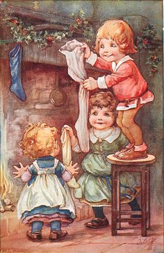 Antique Christmas Postcard...Ada Leonora Bowley..Hanging the stocking for Santa to fill !