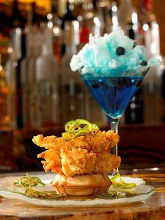 I love this! Chicken and waffles and cotton candy martini