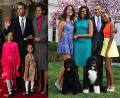 The Obama family at the beginning of President Obama's presidency and now.