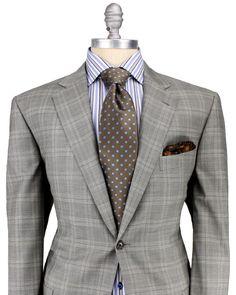 Belvest Beige with Light Blue Glen Plaid Suit