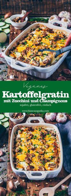 Vegan potato gratin (creamy potato casserole) - Vegan Salads, Sides and Appy's - Rezepte İdeen Potato Recipes, Veggie Recipes, Whole Food Recipes, Vegetarian Recipes, Vegan Zuchinni Recipes, Vegetarian Diets, Vegan Food, Vegan Recetas, Creamy Potato Bake
