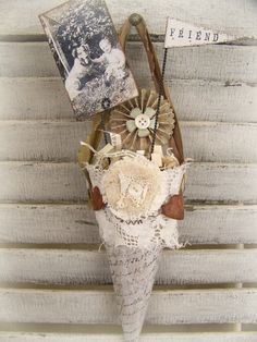 Victorian Paper Cone Vintage Dog Decor Shabby White by QueenBe