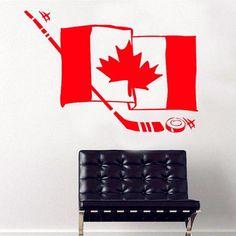 Canada Hockey Flag Wall Stickers For Kids Nursery Room Wall Decal Living Room Sports Vinyl Home Decals Modern Design Wall Stickers Room, Vinyl Wall Art, Wall Decals, Hockey Decor, Hockey Room, Hockey Gifts, Canada Hockey, Sports Decals, Wall Colors