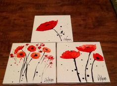 Alcohol ink poppy coasters by sally