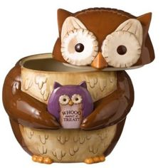 Grasslands Road Crimson Hallow Owl Cookie Jar Empty - Kitchen Things